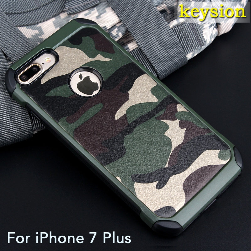 "Case for iPhone 7 Plus 5.5"" 2in1 Armor Hybrid Plastic+TPU Army Camo Camouflage Rear with Special Shockproof Angle Phone Cover"