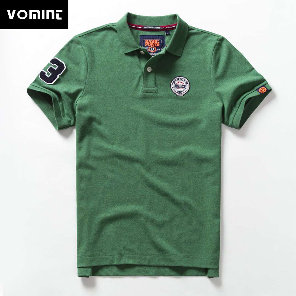 Vomint 2019 Summer Mens Cotton Polo Shirts Short Sleeve Letter Embroidered Emblem Solid Color shirts for Male BP6902