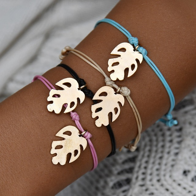 MissCyCy 2019 New Vintage Gold Color Coconut Leaves Bracelets for Women Fashion Metal Charm Bracelet Beach Jewelry Party Gift