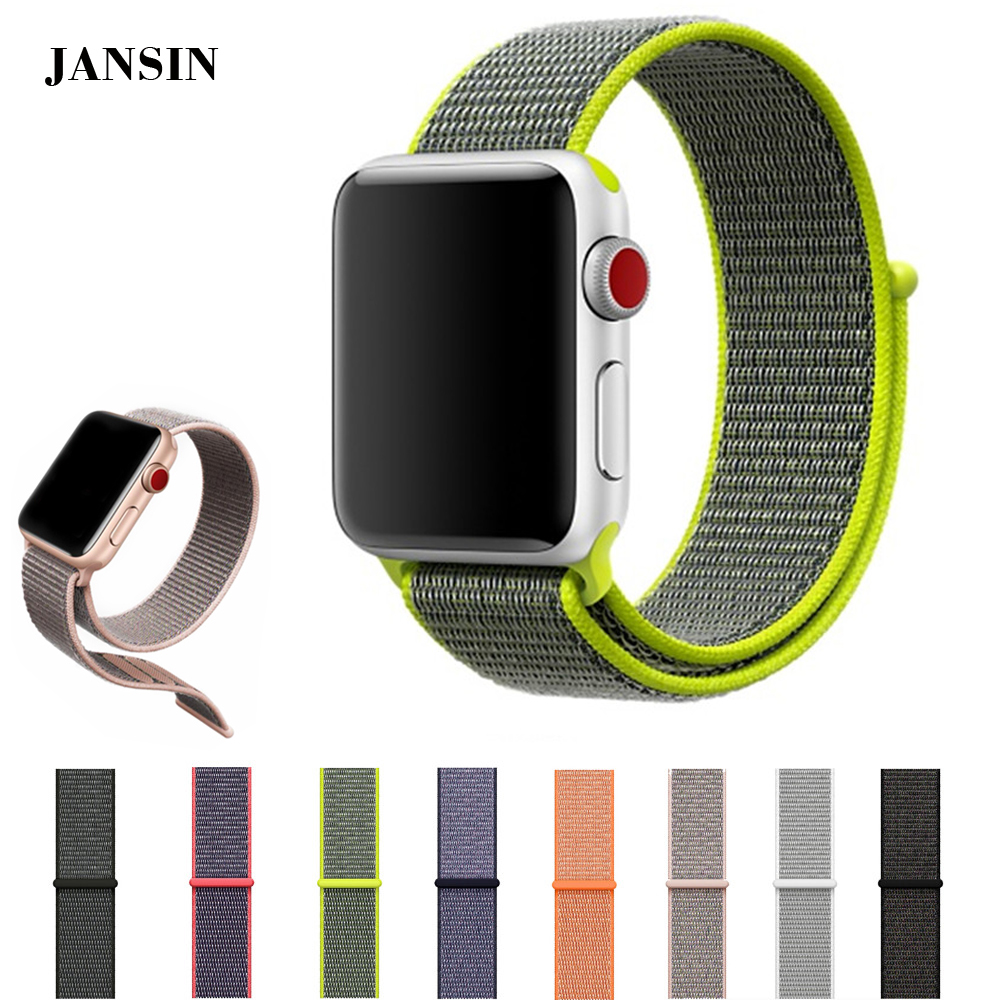 JANSIN nylon loop strap for apple watch band 38mm 42mm Magnetic buckle adjustable Sports strap band for iwatch series 1/2/3 jansin 22mm watchband for garmin fenix 5 easy fit silicone replacement band sports silicone wristband for forerunner 935 gps