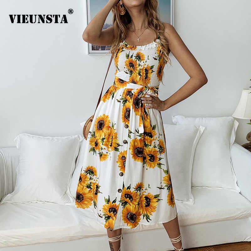 a74e6d829c87 VIEUNSTA Sunflower Print Ruffle Summer Beach Dress Women 2019 Cotton O Neck  Backless Strap A-