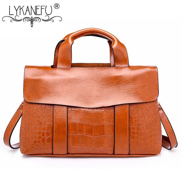 Lykanefu Vintage Style Satchel Bag Women Leather Handbag Business Briefcase Handbags Designer Las Pu Shoulder