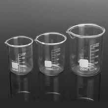 Kicute 3Pcs 100ml 150ml 250ml Glass Beaker Set Graduated Transparent Borosilicate Glass