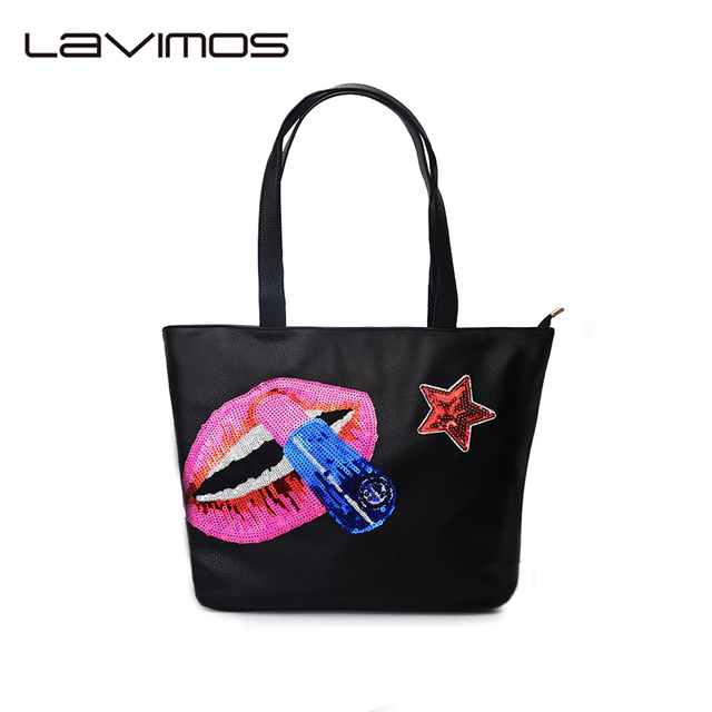 Las Tote Bag Black Sequin Embroider Large Capacity Handbag Women S Hobo Bags Pu Leather