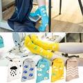 2017 Korean New Cartoon Food Landscape Socks Women Cute Cotton Summer Socks Egg Clouds Rain Grass Ripple Footprint Ankle Socks