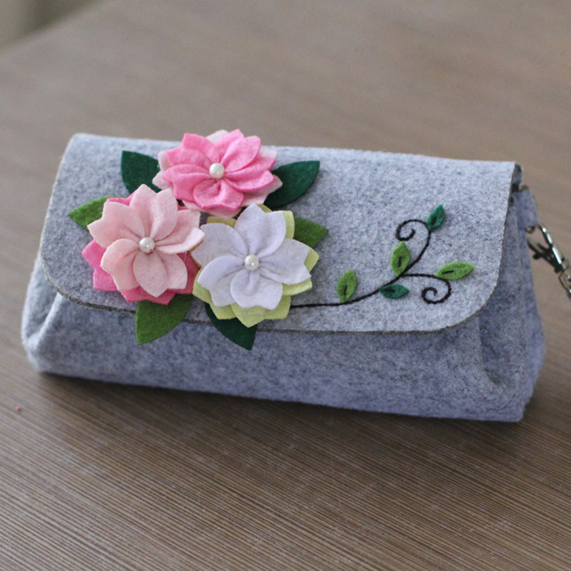 Sewing Art 3mm Felt Diy Craft Cherry Hand Bag Size 12X9X6CM Handmade Free Cutting Felt Material DIY Package