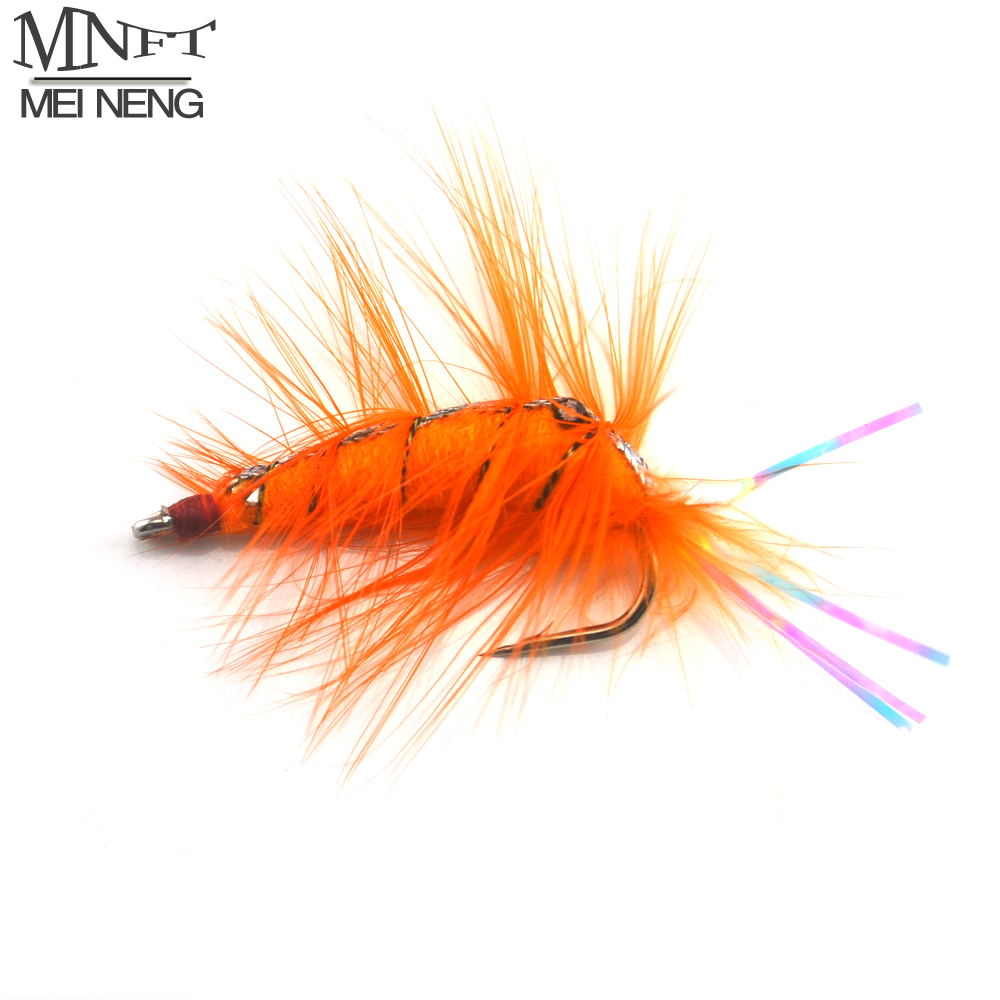 MNFT 4Pcs Orange Shrimp Saltwater Bait Fish Flies with Rainbow Flashabou Tail Artificial Trout Fly Fishing Hooks mnft 10pcs 8 black woolly bugger black color with flashabou crystal decorated tail fly fishing lure streamer bead golden head