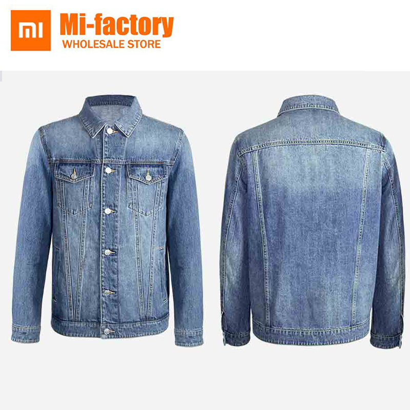 New Xiaomi Mija Bomber Jacket Mens 100% Cotton Casual Fit Jacket Autumn Mens Simple Denim Jacket Fashion Brand Mens Coat printed embroidered zip up bomber jacket