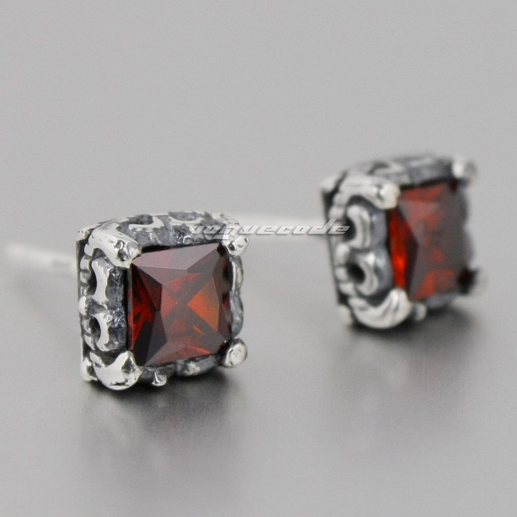925 Sterling Silver Square Red CZ Mens Biker Rocker Stud Earring 8R017(2 Pieces)