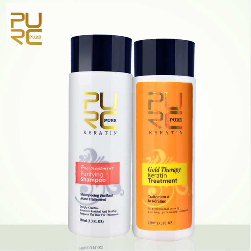 PURC Gold Therapy Brazilian Keratin Treatment Straighten Hair And Purifying Shampoo+Daily Conditioner Shampoo 4pcs Hair Care Set