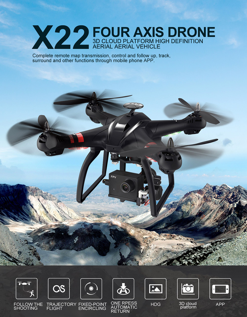 BAYANGTOYS X22 RC Quadcopter Drones Dual GPS WiFi FPV Brushless Follow Me Helicopters Racing Remote Control RC Drone Dron Toys 1