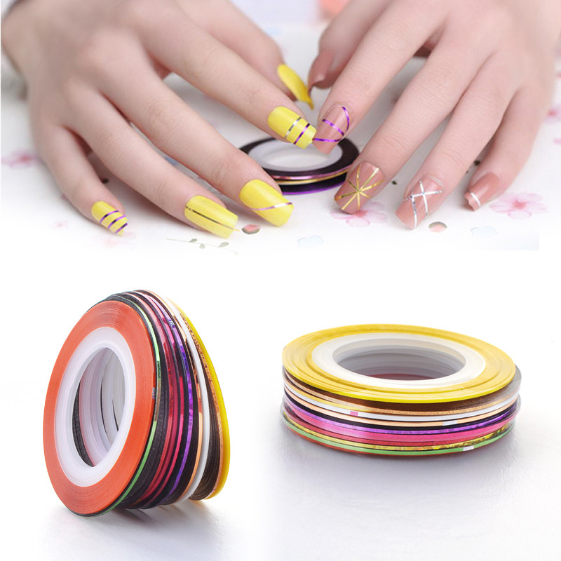 2016 New 10Pcs/lot Mixed Colors Nail Rolls Striping Tape Line DIY Cosmetics Nail Art Tips Decoration Sticker Beauty Nails Care