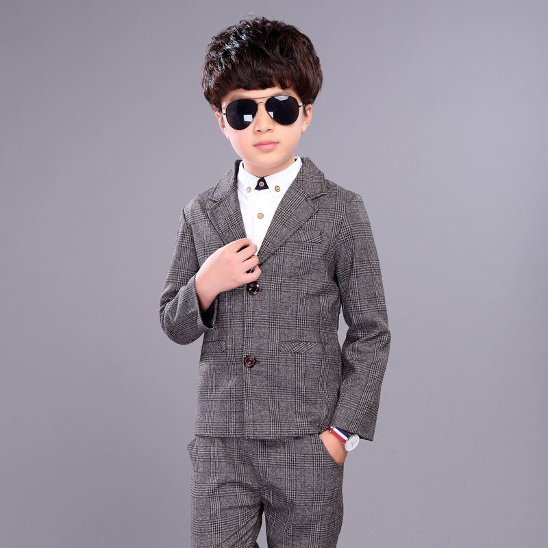 Flower Boys Formal Blazer Suit Birthday Party Wedding Kids Jackets Pants 2Pcs Clothing Set Children Prom Costume Groom Dress F66
