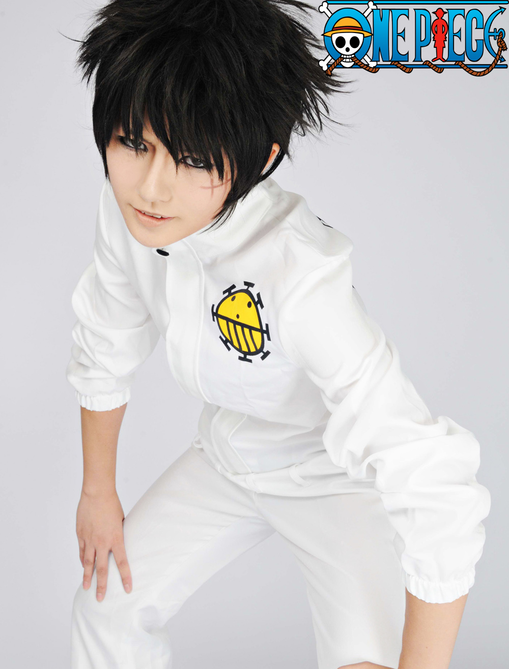 Free Shipping One Piece Heart Pirates White Uniform Anime Cosplay Costume