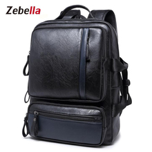 Zebella PU Leather Backpack For Business School College Simple Design Men New Fashion Casual Travel  Waterproof mochila male
