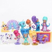 12Pcs/Set Shimmer Sister Dolls Samira Pet Tiger Nahal Monkey Dragon Shimmer Siste Action Figures Toys For Birtharty Party Gift