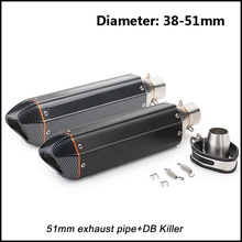 цена на 38-51mm Adapter Exhaust Muffler Pipe With DB Killer for 420mm Motorcycle stainless steel Silencer System