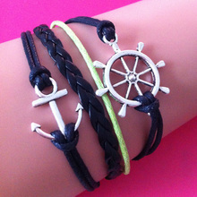Nautical wrap link bracelet Antique Silver Rudder Anchor wrap link bracelet with Green Braid and Black Wax Cord Chain wrap link
