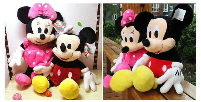Free Shipping 2pcs/lot Hot Sale Lovely Mickey Mouse And Minnie Stuffed Animal Toys Children's Gift Wholesale
