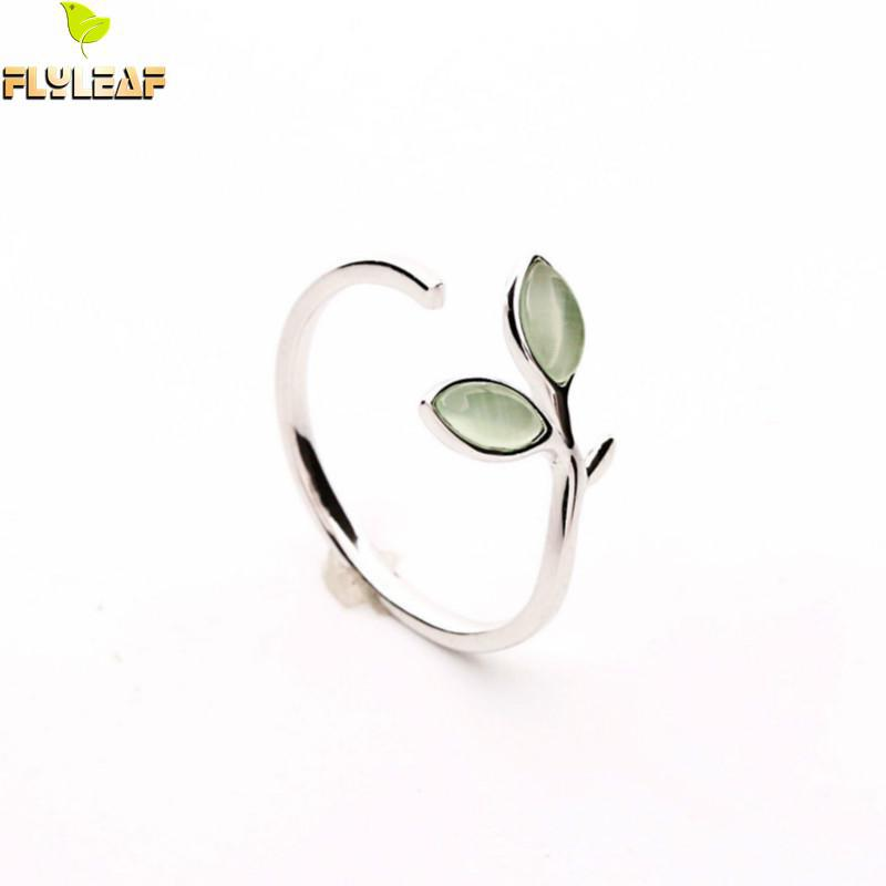 Flyleaf 100% 925 Sterling Silver Green Opal Leaves Buds Open Rings For Women High Quality Creative Fashion Jewelry ...