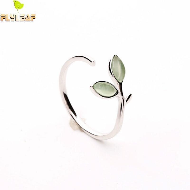 Flyleaf 925 Plata de Ley 100% ópalo verde hojas brotes anillos abiertos para mujeres alta calidad creativa joyería de moda