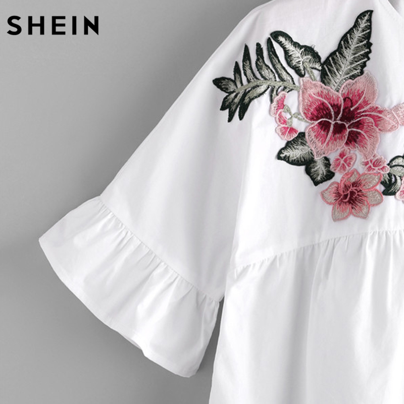 11390eaa13efd5 SHEIN Embroidery Short Sleeve Summer Women Blouses White Embroidered Flower  Embellished Ruffle Sleeve Babydoll Top-in Blouses   Shirts from Women s  Clothing ...