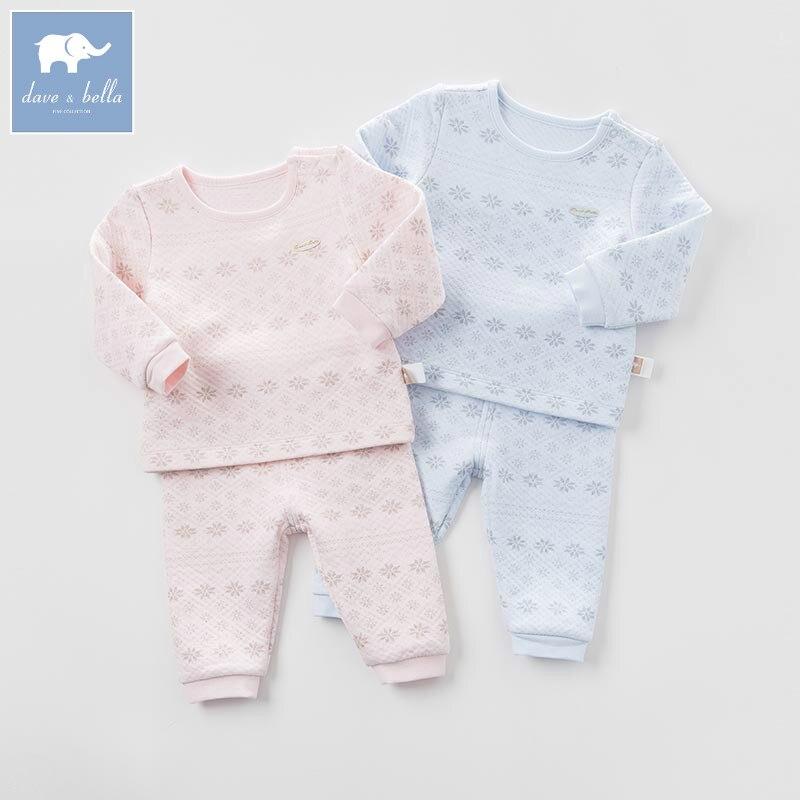 DB6039 dave bella autumn baby sleepwear infant kids snowflake printed pajamas sleepwear children pajamas set