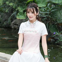 2018 New Summer Women Shirts Short Sleeve National Wind Cotton Embroidered Blouse Shirt White Pink Blue 9989