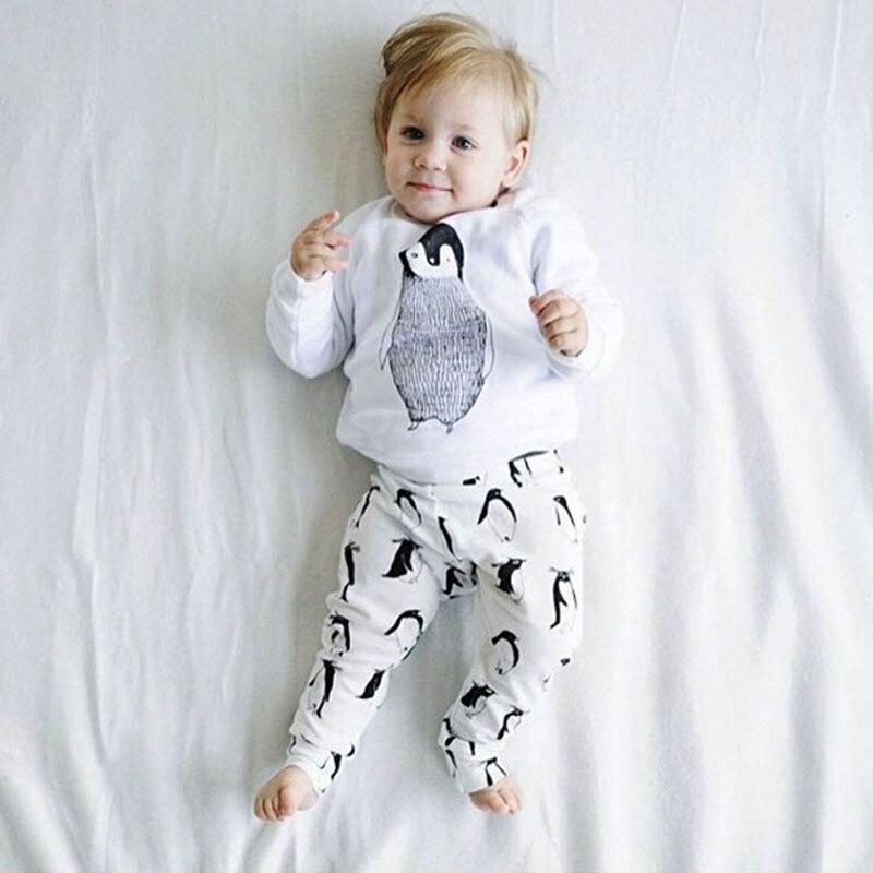 Erkek bebek Kız Giyim Setleri 2016 Sonbahar carter Bebek giysileri Penguen Pamuk Uzun kollu 2 adet suit (Üst + pantolon) bebek kız giysileri