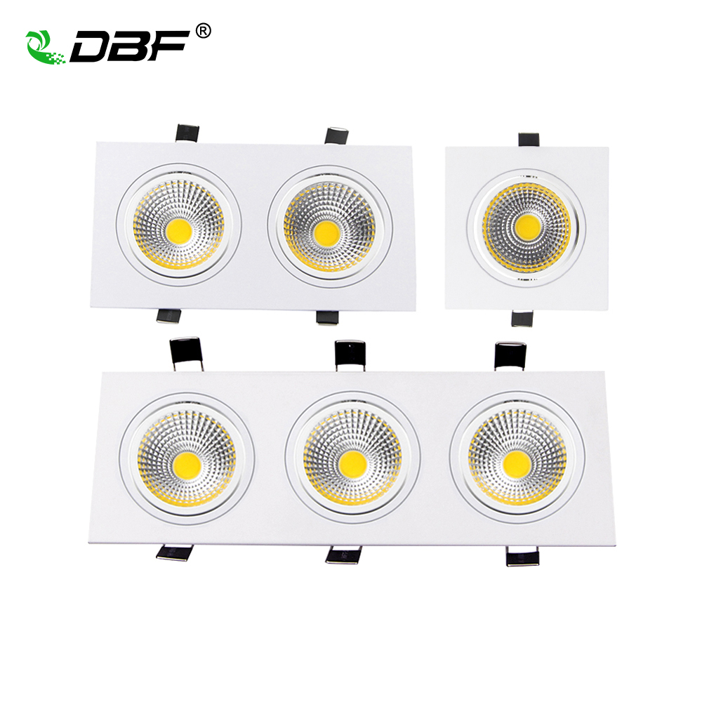 Square Recessed COB Downlight COB 7W 9W 12W 15W 14W 24W 21W 36W LED Ceiling Lamp AC85-265V Indoor LED Spot Light With Driver