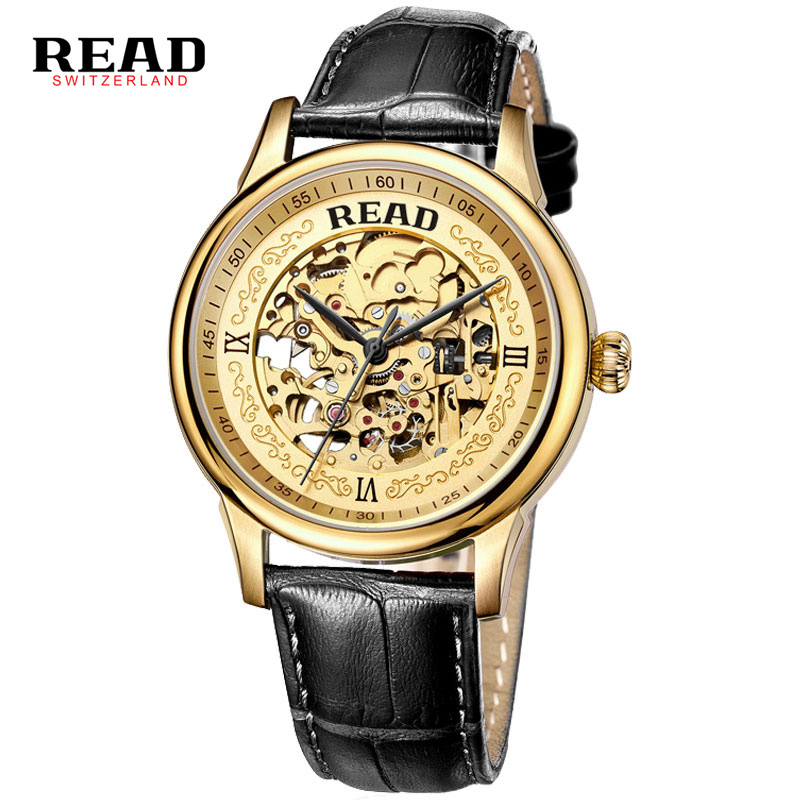 Automatic Watch Men Gold Mens Watches Top Luxury Brand READ Mechanical Leather Wristwatches Skeleton Male Clock Man Relogio New top brand luxury men skeleton mechanical watch gold skeleton vintage watches hollow automatic self wind wrist watch man clock