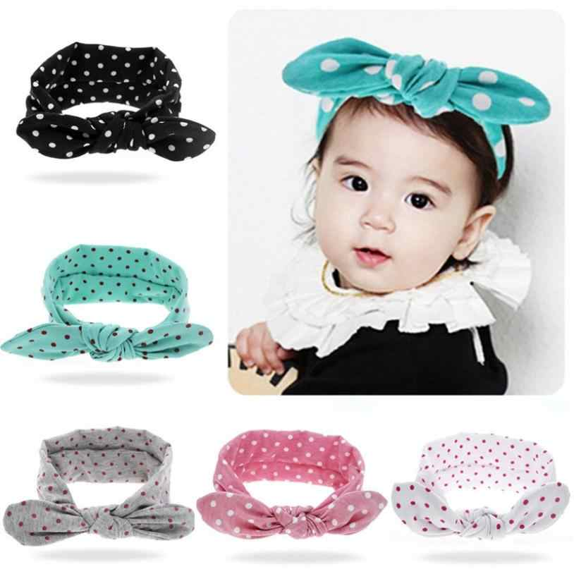 5c55f28e40e2a Rabbit Ears Elastic Wave Point Bowknot Headband hair clips for girls 7.10
