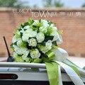 FW80 branco vermelho 2 cores de Alta Qualidade Nupcial Do Casamento Bouquet Artificial Silk Rose Flor Bola decoração de mesa