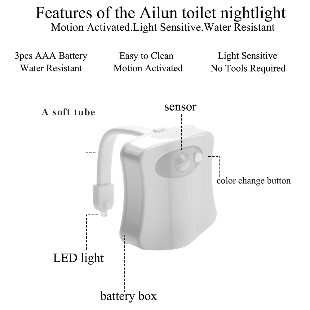 Image 5 - 2PCS 8 Color Changing LED Lamps light Body Washingroom Motion Bowl Toilet Nightlight Activated On/Off Lights Seat Sensor Lamp-in LED Night Lights from Lights & Lighting