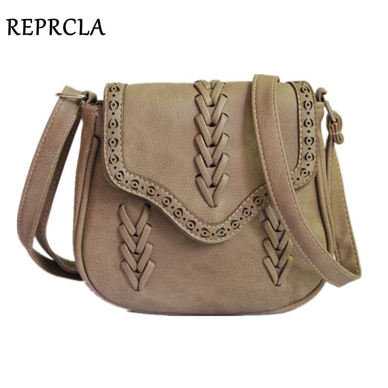 REPRCLA Newest Fashion Women Bag Weave PU Leather Handbags Crossbody Vintage Small Messenger Bags For Gift Handbag