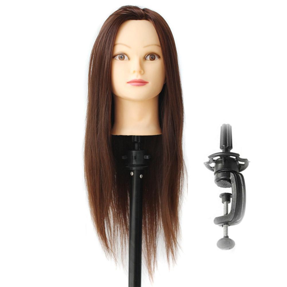 CAMMITEVER 20 pouce Brun Cheveux Salon De Têtes Mannequin Cheveux Longs Formation Silicone Tête Pratique Poupée Stand Pôle Coiffure