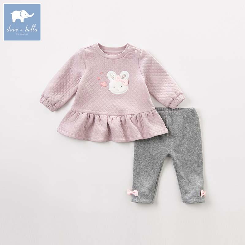DBZ8202 デイブベラ秋ベビーファッション衣類ガールスリーブスーツ子供プリントの服  グループ上の ママ & キッズ からの 服セット の中 1