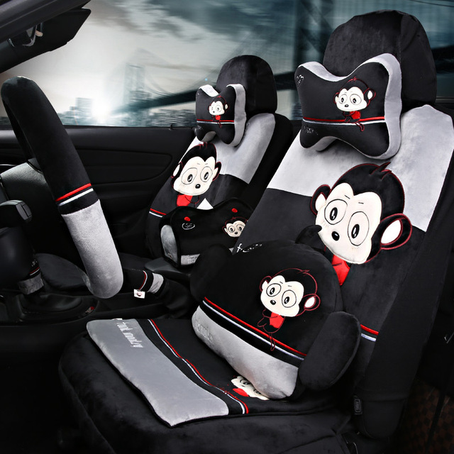Black Grey 24pcs Set Funky Monkey Fannel Fabric Car Seat Covers In