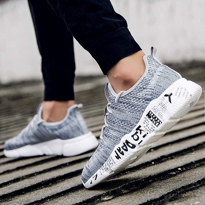 Sneakers Men Trendy Shoes Male sapato Version breathable Slip on Tenis  Masculino Adulto Fly weaving Soft Flats Walking Footwear-in Men s Casual  Shoes from ... b9ea1a10d