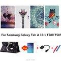 Для Samsung Galaxy Tab A 10.1 T585 T580 SM-T580 T580N таблетки funda случаи Цвет Окрашены Кожа PU Case Откидная Крышка Shell + подарки