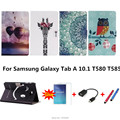 For Samsung Galaxy Tab A 10.1 T585 T580 SM-T580 T580N Tablet funda cases Color Painted PU Leather Case Flip Cover Shell+gifts