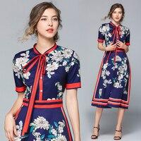 HAYBLST 2019 new vintage print dress women fashion floral short sleeve dresses vestido de festa clothing for women brick dress