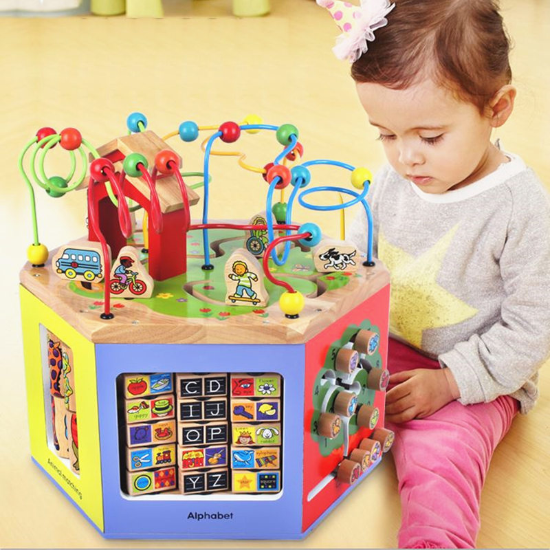 New Large Baby Toys 6 In1 Multifunction Hexahedral Around The Bead Gallery Wooden Toys Infant Early Learning Educational Gift