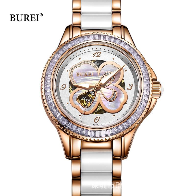 BUREI Brand Womens Watches Women Waterproof Crystal Sapphire Ladies Mechanical Automatic Wrist Watch Clock 2017 Relogio Feminino