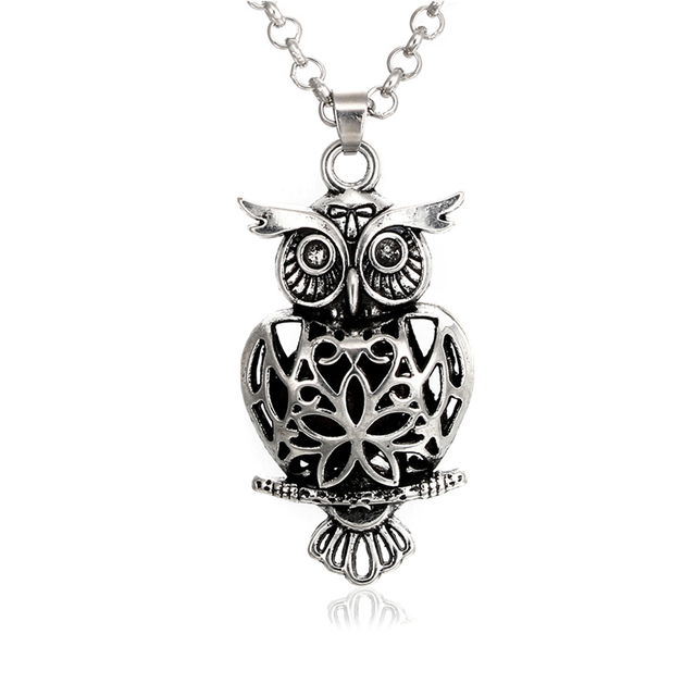 2c18761a746c7d Vintage Silver Owl Lava Rock Aromatherapy Necklace Essential Oil Diffuser  Magnetic Closure Locket Necklace, Come with 70cm Chain