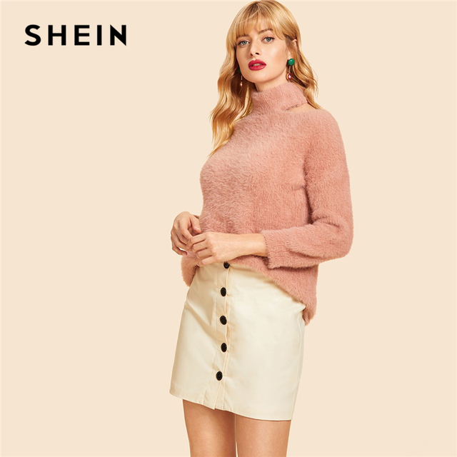 9ef36f197168 SHEIN Pink Cut Out High Neck Solid Fluffy Sweater Casual Cold Shoulder High  Neck Long Sleeve Pullovers Women Autumn Sweaters
