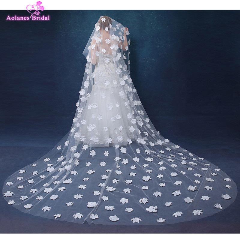 AOLANES Ivory 3 Meters Long Cathedral Bridal Veils Tulle Appliques 3D Flowers Wedding Veil Wedding Accessories 2018