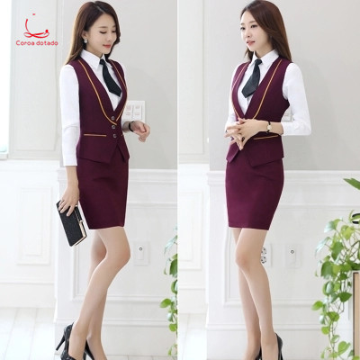 Stewardess Uniform Professional Dress Suit Spring And Autumn Beautician Hotel Receptionist Uniform Vest Two Sets