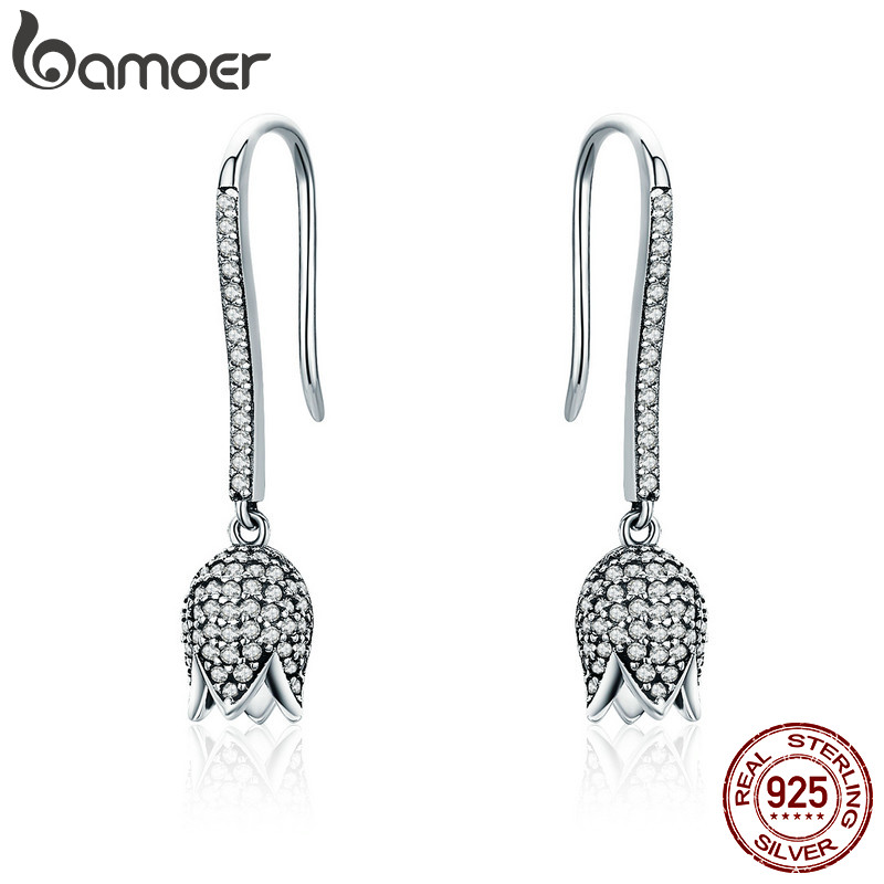 BAMOER 925 Sterling Silver Dazzling CZ Tulip Flower Petal Female Drop Earrings for Women Luxury Earrings Silver Jewelry SCE301 bamoer original 925 sterling silver dazzling daisy flower stud earrings for women jewelry pas434