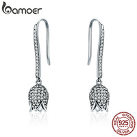 BAMOER 925 Sterling Silver Dazzling CZ Tulip Flower Petal Female Drop Earrings For Women Luxury Earrings